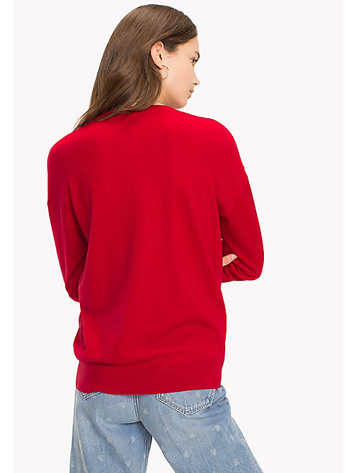 TOMMY HILFIGER Statement Heart Sleeve Jumper - APPLE RED - TOMMY HILFIGER Vêtements - image détaillée 1