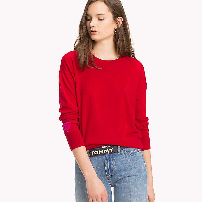 TOMMY HILFIGER Statement Heart Sleeve Jumper - MIDNIGHT - TOMMY HILFIGER Women - main image