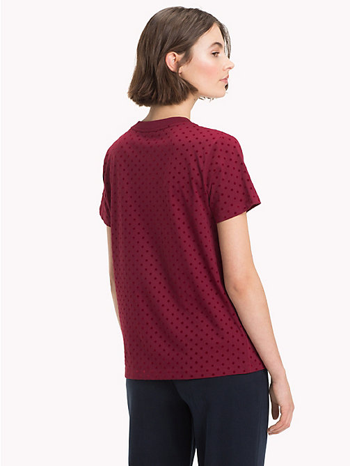 TOMMY HILFIGER Polka Dot Crew Neck T-Shirt - CABERNET -  NEW IN - detail image 1