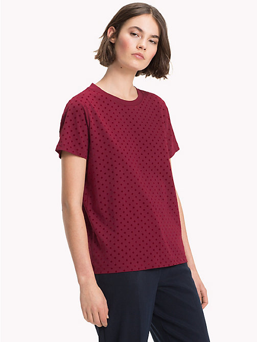 TOMMY HILFIGER Polka Dot Crew Neck T-Shirt - CABERNET -  NEW IN - main image