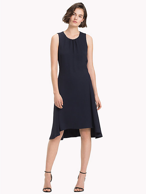 TOMMY HILFIGER Crepe High-Low Dress - MIDNIGHT - TOMMY HILFIGER The Office Edit - main image
