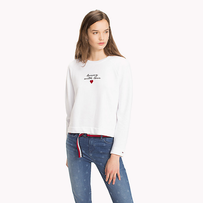TOMMY HILFIGER Heart On Sleeve Sweatshirt - CLASSIC WHITE / TOMMY LOVE - TOMMY HILFIGER Women - main image