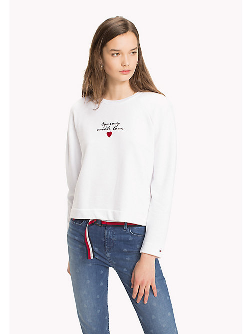 TOMMY HILFIGER Heart On Sleeve Sweatshirt - CLASSIC WHITE / TOMMY W LOVE - TOMMY HILFIGER Sweatshirts - main image