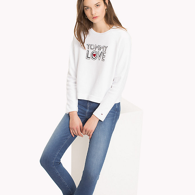 TOMMY HILFIGER Heart On Sleeve Sweatshirt - LIGHT GREY HEATHER / RED HEART - TOMMY HILFIGER Women - main image