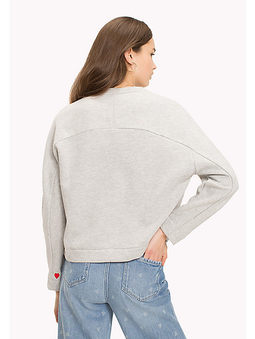TOMMY HILFIGER Heart On Sleeve Jumper - LIGHT GREY HEATHER / RED HEART -  TOMMYXLOVE - imagen detallada 1