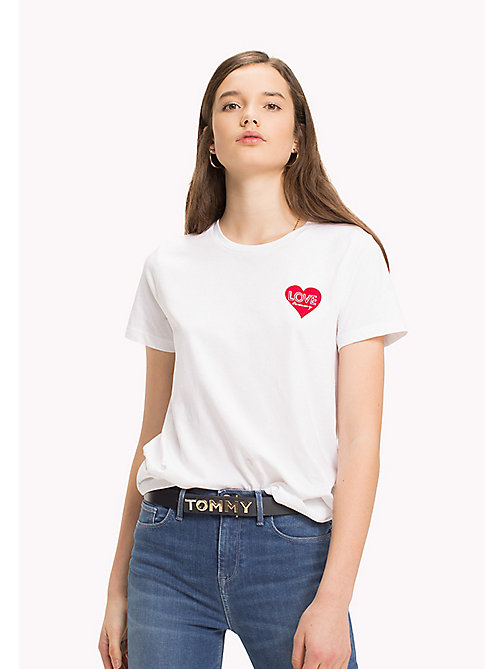 TOMMY HILFIGER Heart Logo T-Shirt - CLASSIC WHITE / RED HEART PRINT -  Clothing - imagen principal