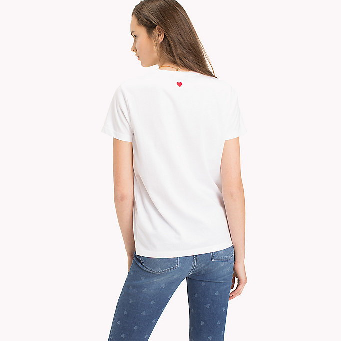 TOMMY HILFIGER Heart Logo T-Shirt - CLASSIC WHITE / RED HEART PRINT - TOMMY HILFIGER Clothing - detail image 1