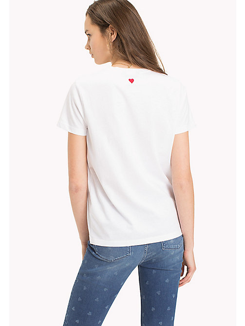 TOMMY HILFIGER Heart Logo T-Shirt - CLASSIC WHITE / BLACK HEART PRINT - TOMMY HILFIGER TOMMYXLOVE - detail image 1
