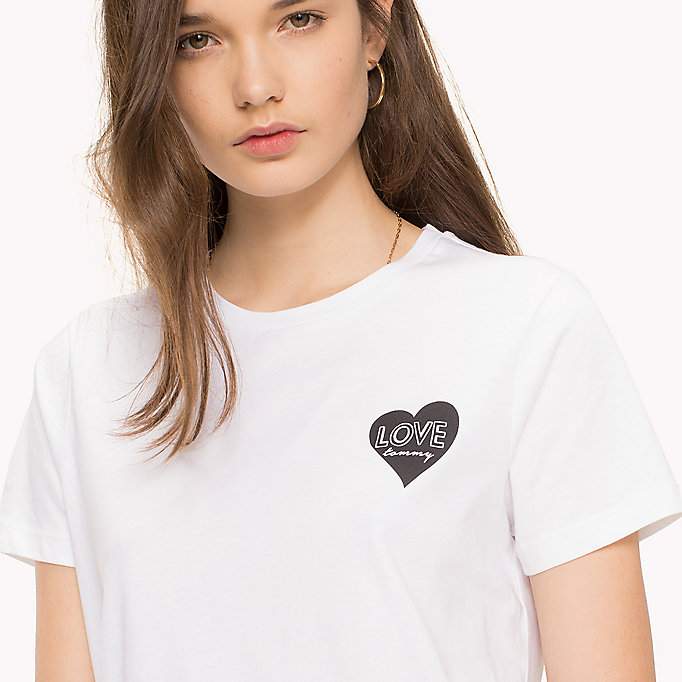TOMMY HILFIGER Heart Logo T-Shirt - CLASSIC WHITE / RED HEART PRINT - TOMMY HILFIGER Clothing - detail image 2