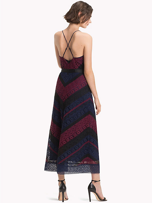 TOMMY HILFIGER Chevron Lace Midi Dress - CABERNET / SKY CAPTAIN MULTI - TOMMY HILFIGER Clothing - detail image 1