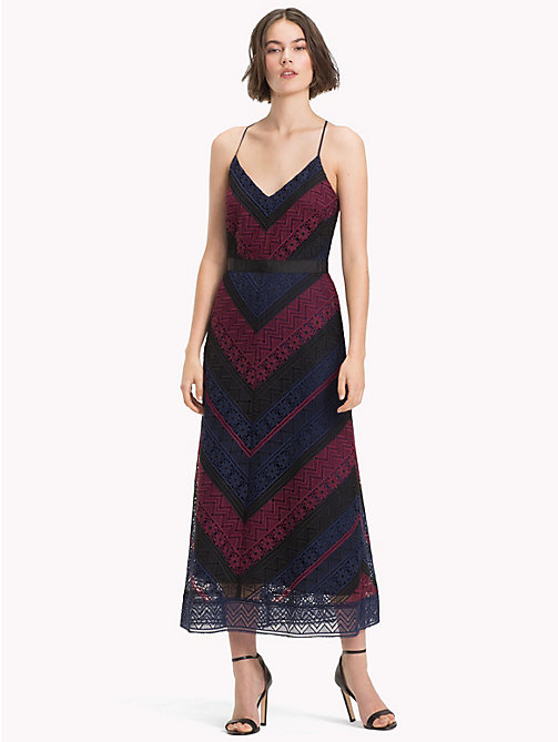 TOMMY HILFIGER Chevron Lace Midi Dress - CABERNET / SKY CAPTAIN MULTI - TOMMY HILFIGER Midi - main image