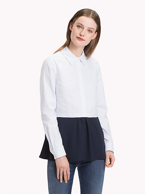 TOMMY HILFIGER Two-Tone Peplum Blouse - ITHACA STP / HEATHER - TOMMY HILFIGER Shirts - main image