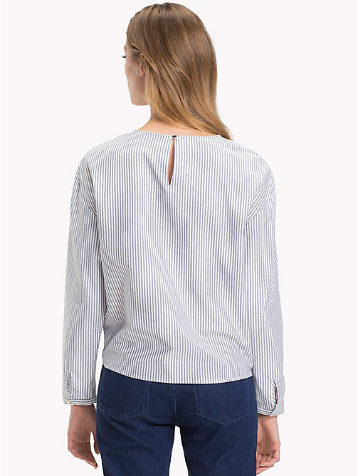 TOMMY HILFIGER Tie Front Stripe Blouse - ITHACA STP / BLACK BEAUTY - TOMMY HILFIGER The Office Edit - detail image 1