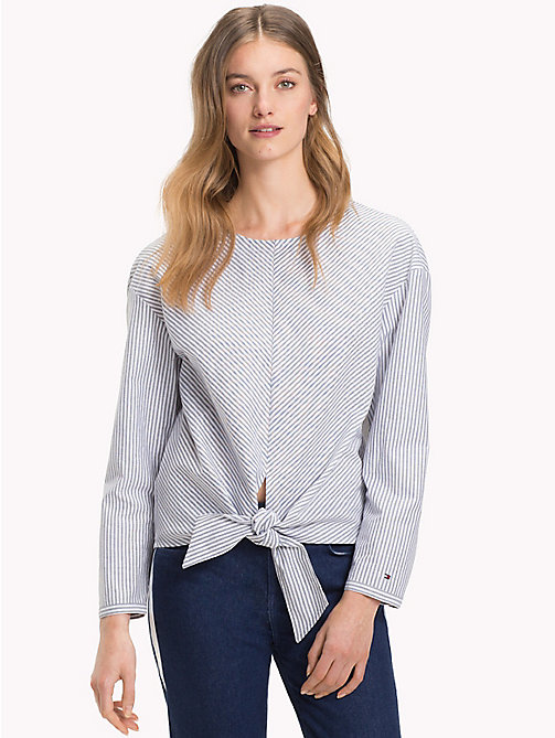 TOMMY HILFIGER Tie Front Stripe Blouse - ITHACA STP / BLACK BEAUTY - TOMMY HILFIGER The Office Edit - main image