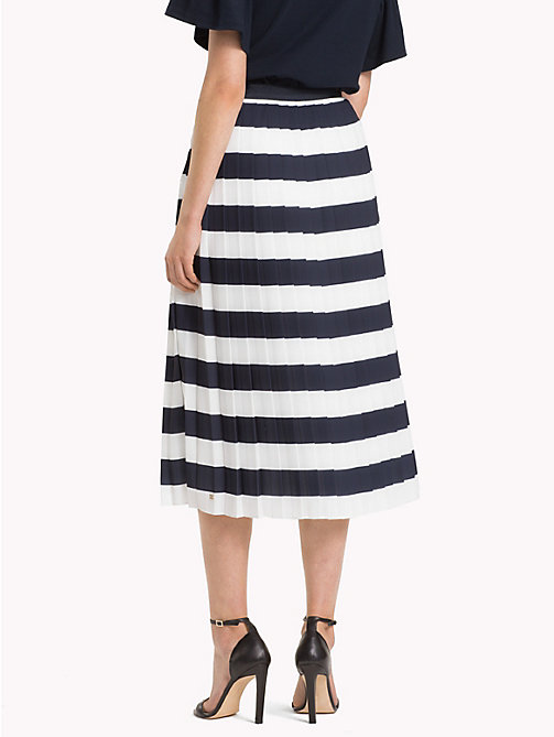 TOMMY HILFIGER Pleated Chiffon Midi Skirt - SNOW WHITE / SKY CAPTAIN STP - TOMMY HILFIGER Skirts - detail image 1
