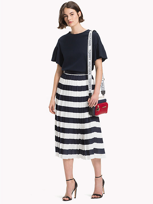TOMMY HILFIGER Pleated Chiffon Midi Skirt - SNOW WHITE / SKY CAPTAIN STP - TOMMY HILFIGER Skirts - main image