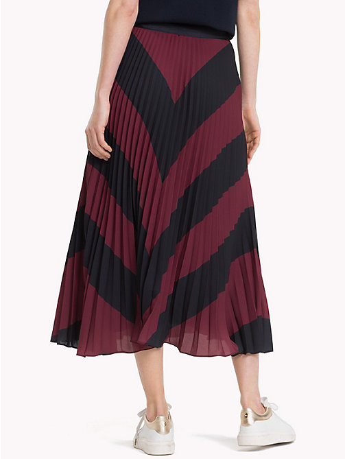 TOMMY HILFIGER Pleated Chiffon Midi Skirt - CABERNET / SKY CAPTAIN CHEVRON - TOMMY HILFIGER NEW IN - detail image 1