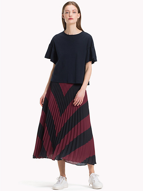 TOMMY HILFIGER Pleated Chiffon Midi Skirt - CABERNET / SKY CAPTAIN CHEVRON - TOMMY HILFIGER NEW IN - main image