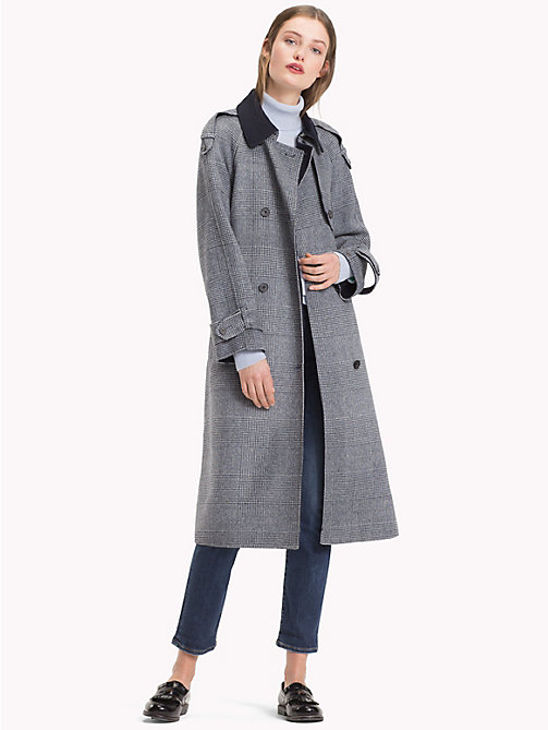 TOMMY HILFIGER Wool Blend Check Trench Coat - CHECK / SKY CAPTAIN - TOMMY HILFIGER Women - detail image 1