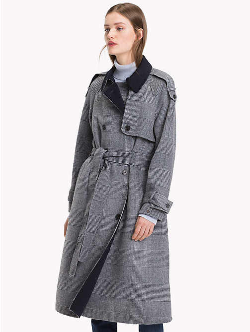 TOMMY HILFIGER Wool Blend Check Trench Coat - CHECK / SKY CAPTAIN - TOMMY HILFIGER Trench Coats - main image