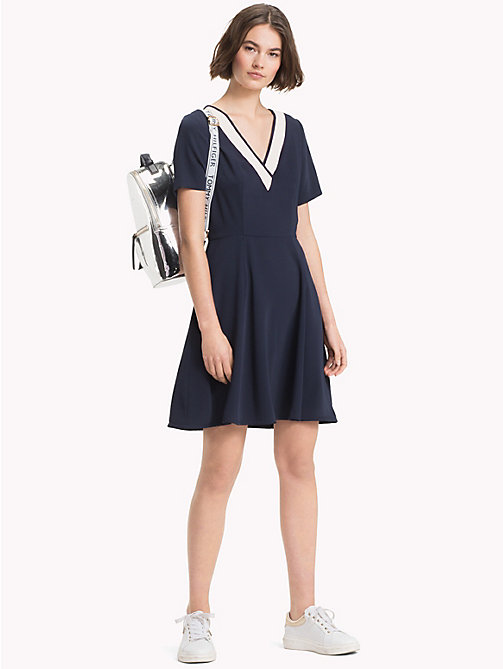 TOMMY HILFIGER V-Neck Satin Dress - MIDNIGHT - TOMMY HILFIGER NEW IN - main image