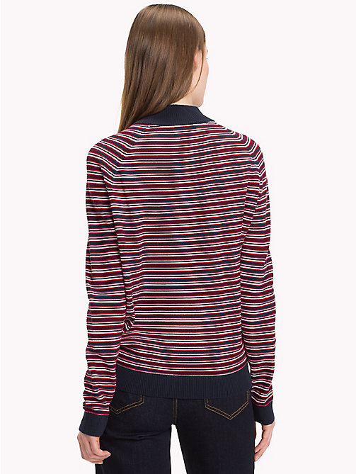 TOMMY HILFIGER Stripe Mock Neck Jumper - SKY CAPTAIN / TRUE RED / SNOW WHITE - TOMMY HILFIGER Jumpers - detail image 1