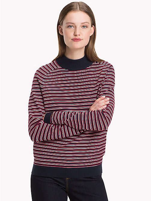 TOMMY HILFIGER Stripe Mock Neck Jumper - SKY CAPTAIN / TRUE RED / SNOW WHITE - TOMMY HILFIGER Jumpers - main image