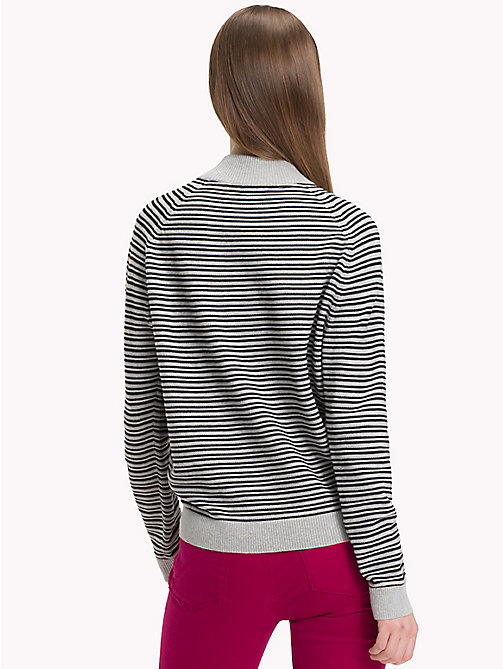 TOMMY HILFIGER Stripe Mock Neck Jumper - LIGHT GREY HTR / BLACK BEAUTY - TOMMY HILFIGER Jumpers - detail image 1