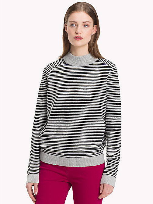 TOMMY HILFIGER Stripe Mock Neck Jumper - LIGHT GREY HTR / BLACK BEAUTY - TOMMY HILFIGER Jumpers - main image