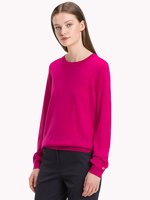 TOMMY HILFIGER Twist Detail Wool Jumper - CERISE - TOMMY HILFIGER Jumpers - main image