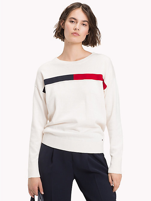 TOMMY HILFIGER Crew Neck Flag Jumper - SNOW WHITE - TOMMY HILFIGER Jumpers - main image