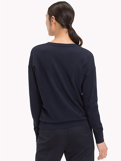TOMMY HILFIGER Crew Neck Flag Jumper - MIDNIGHT - TOMMY HILFIGER Jumpers - detail image 1