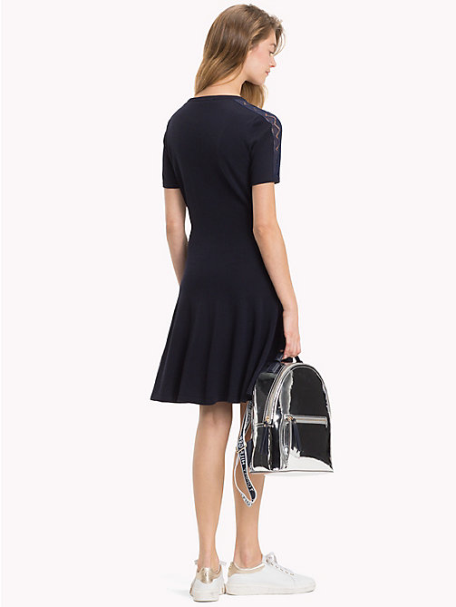 TOMMY HILFIGER Chevron Lace Sleeve Dress - MIDNIGHT - TOMMY HILFIGER NEW IN - detail image 1