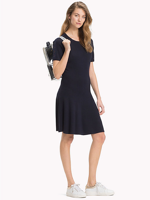 TOMMY HILFIGER Chevron Lace Sleeve Dress - MIDNIGHT - TOMMY HILFIGER NEW IN - main image