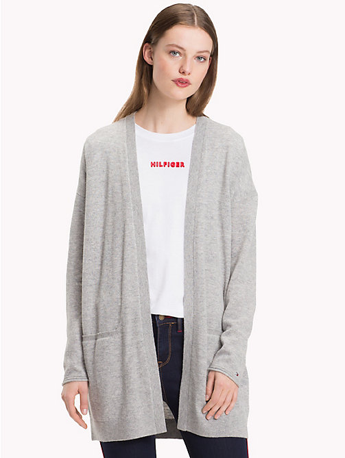 TOMMY HILFIGER Mid-Length Cardigan - LIGHT GREY HTR - TOMMY HILFIGER Clothing - main image