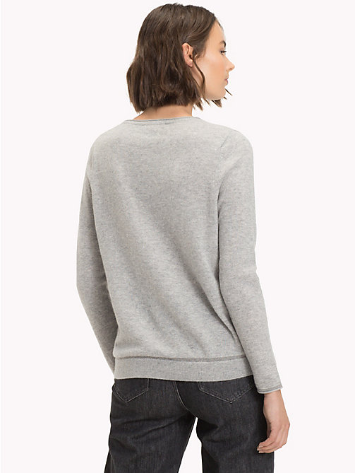 TOMMY HILFIGER Cashmere Wool Blend Jumper - LIGHT GREY HTR - TOMMY HILFIGER Jumpers - detail image 1