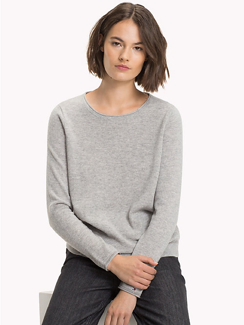 TOMMY HILFIGER Cashmere Wool Blend Jumper - LIGHT GREY HTR - TOMMY HILFIGER Jumpers - main image