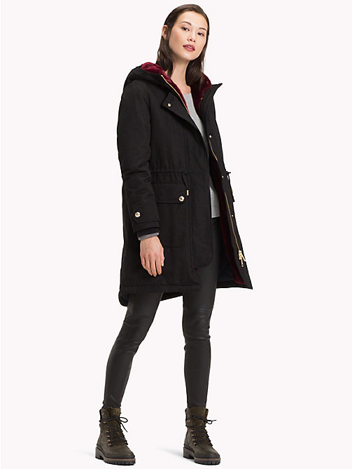 TOMMY HILFIGER Hooded Long Parka Coat - BLACK BEAUTY - TOMMY HILFIGER Coats - detail image 1