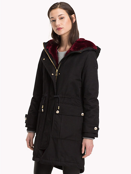 TOMMY HILFIGER Hooded Long Parka Coat - BLACK BEAUTY - TOMMY HILFIGER Coats - main image