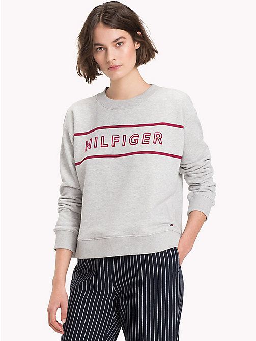 TOMMY HILFIGER Crew Neck Cotton Terry Sweatshirt - LIGHT GREY HTR - TOMMY HILFIGER Clothing - main image
