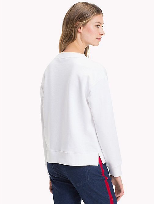 TOMMY HILFIGER Crew Neck Cotton Terry Sweatshirt - CLASSIC WHITE / CERISE - TOMMY HILFIGER Sweatshirts - detail image 1