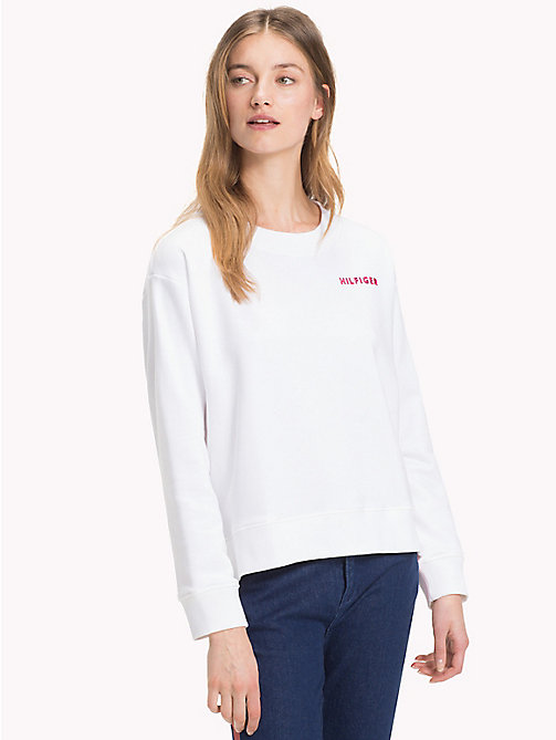 TOMMY HILFIGER Crew Neck Cotton Terry Sweatshirt - CLASSIC WHITE / CERISE - TOMMY HILFIGER Sweatshirts - main image
