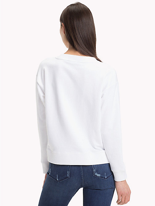 TOMMY HILFIGER Crew Neck Cotton Terry Sweatshirt - CLASSIC WHITE / SHADY GLADE - TOMMY HILFIGER Clothing - detail image 1