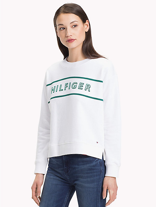 TOMMY HILFIGER Crew Neck Cotton Terry Sweatshirt - CLASSIC WHITE / SHADY GLADE - TOMMY HILFIGER Clothing - main image