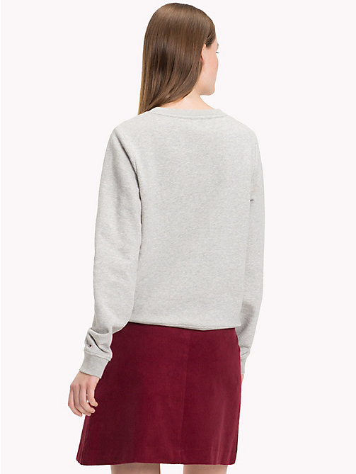 TOMMY HILFIGER Strukturiertes Sweatshirt mit Logo - LIGHT GREY HEATHER / CABERNET - TOMMY HILFIGER Pullover & Sweatshirts - main image 1