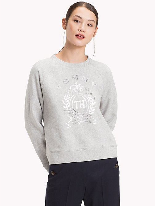 TOMMY HILFIGER Sweatshirt mit glänzendem Wappen - LIGHT GREY HTR - TOMMY HILFIGER Clothing - main image