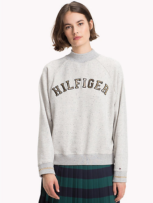 TOMMY HILFIGER Mock Neck Logo Sweatshirt - LIGHT GREY HTR - TOMMY HILFIGER Winter Warmers - main image