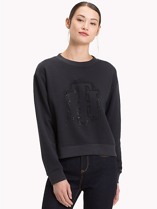 TOMMY HILFIGER Rhinestone Crest Sweatshirt - BLACK BEAUTY - TOMMY HILFIGER Clothing - main image