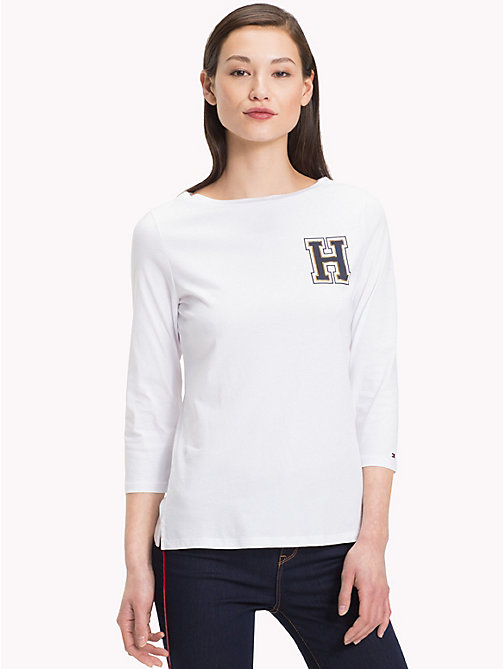 TOMMY HILFIGER Boat Neck Logo T-Shirt - CLASSIC WHITE - TOMMY HILFIGER NEW IN - main image