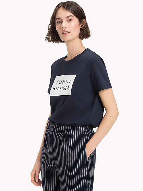 TOMMY HILFIGER Tommy Hilfiger Logo Cotton Jersey T-Shirt - MIDNIGHT - TOMMY HILFIGER T-Shirts - main image